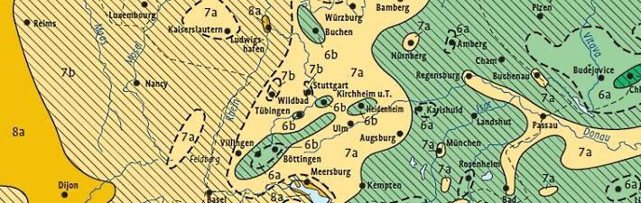 Winterhärtezonen im deutschsprachigen Raum